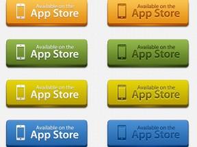 手机app store按钮_立体质感的app下载按钮psd素材