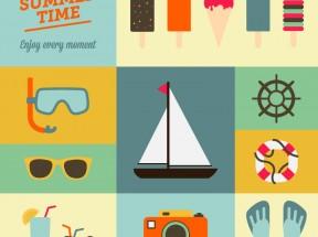 卡通风格的夏季海边度假图标大全素材