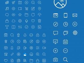 白色扁平的app手机单线图标素材下载