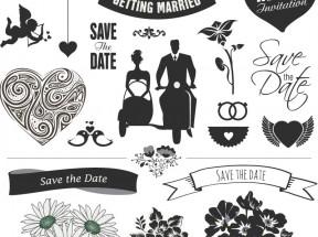 黑色创意扁平化婚礼元素图标素材下载