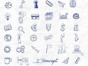 手绘风格蓝色金融商业图标大全icon素材下载