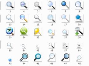 win7风格的放大镜搜索图标PNG素材下载