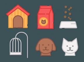 一组创意的卡通家庭宠物图标设计素材下载