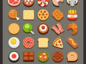 精美卡通的餐饮食品图标AI素材下载