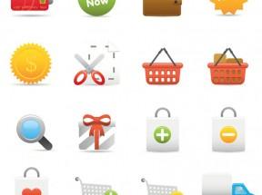 精美的电子商务购物图标集AI素材下载