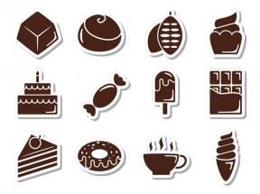 卡通带阴影甜品零食图标AI素材下载大全