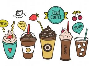 创意卡通手绘冰咖啡图标素材下载大全