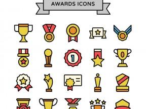 卡通风格的比赛奖杯奖状图标素材下载