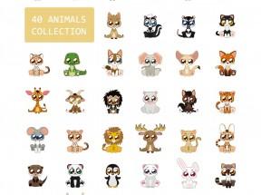 卡通可爱的大眼睛萌萌哒动物图标素材下载