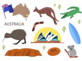一组精美澳大利亚旅游图标素材下载