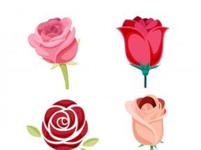 四种美丽动人的卡通玫瑰花图标素材下载