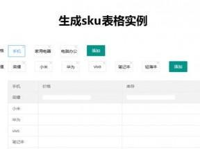 jQuery商品sku表格创建实例