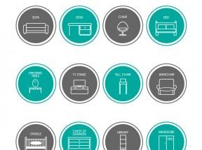 12款线性的家具图标大全AI素材