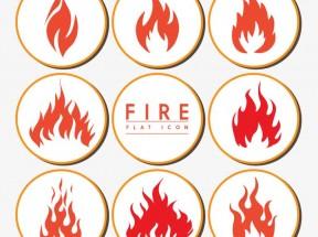 红色创意的火焰徽章图标AI素材下载