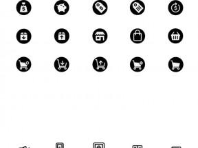 黑色实用的购物商城店铺图标PSD素材下载