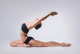 女孩,瑜伽,伸长姿态,图片