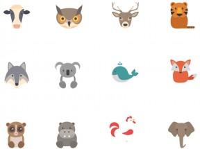 一组精美卡通动物头像图标素材下载