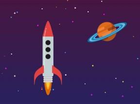 svg星空中飞船火箭动画