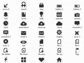 黑色扁平面设计网页功能小图标素材下载