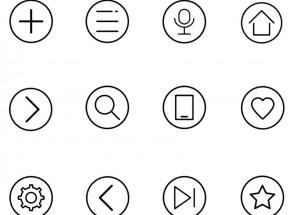 简单圆形线条型KTV点歌机图标素材下载