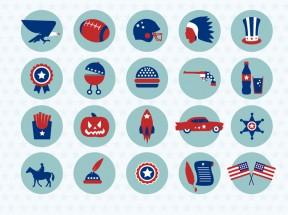 美国元素扁平设计图标素材