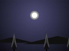 css3黑夜月亮山水背景场景