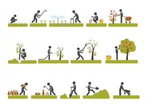 绿色扁平化农业生产图标设计素材下载