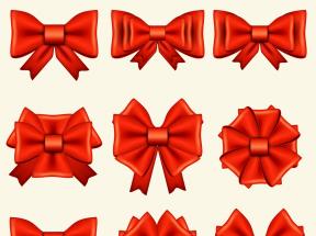 红色的蝴蝶结图标设计素材