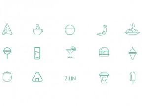 绿色线性的快餐小吃零食图标大全AI素材