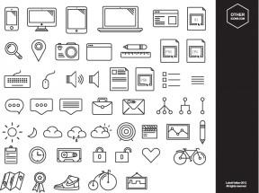 黑色线性的数码生活小图标素材下载