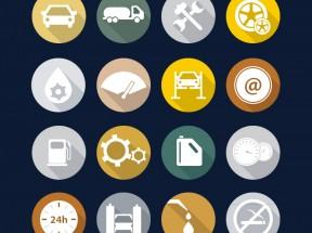 圆形的汽车加油站图标大全AI素材