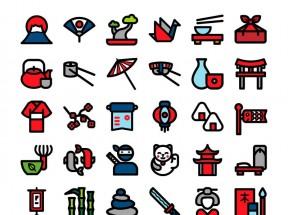 卡通的日本文化图标大全AI素材