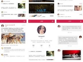 红色的新闻图片博客手机app模板html源码