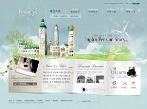 韩国蓝色卡通城堡网站模板psd素材下载