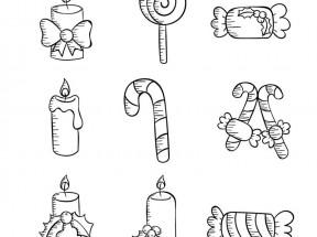 手绘风格的儿童生日糖果图标大全PSD素材