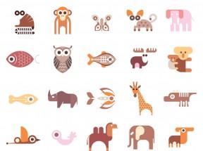 创意的鱼鸟动物图标集素材