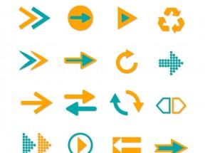 扁平风格的双色箭头图标大全AI素材