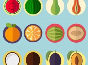 香甜可口的扁平化精美水果切面图标素材