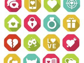 扁平风格的情人节爱心元素图标素材下载