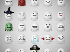25款卡通可爱幽灵表情图标素材下载