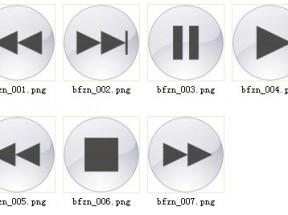 精致灰色的视频音乐播放器界面小图标PNG图片下载