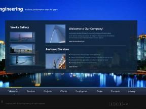 黑色的城市建筑行业网站单页模板下载