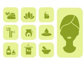绿色扁平化美容护肤SPA图标大全AI素材