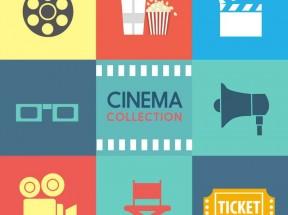 扁平化的电影院图标大全AI素材下载