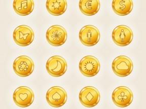 圆形带图案的金币图标素材下载