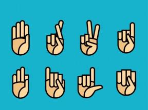创意的纸质手势图标大全AI素材
