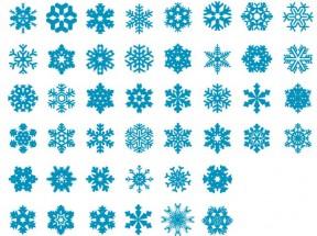 蓝色扁平化的雪花图标大全psd素材