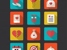 方形创意的爱心服务图标设计素材