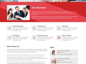 红色简洁的商务合作咨询公司网站静态模板