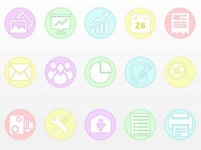 扁平化圆形商务图标素材下载